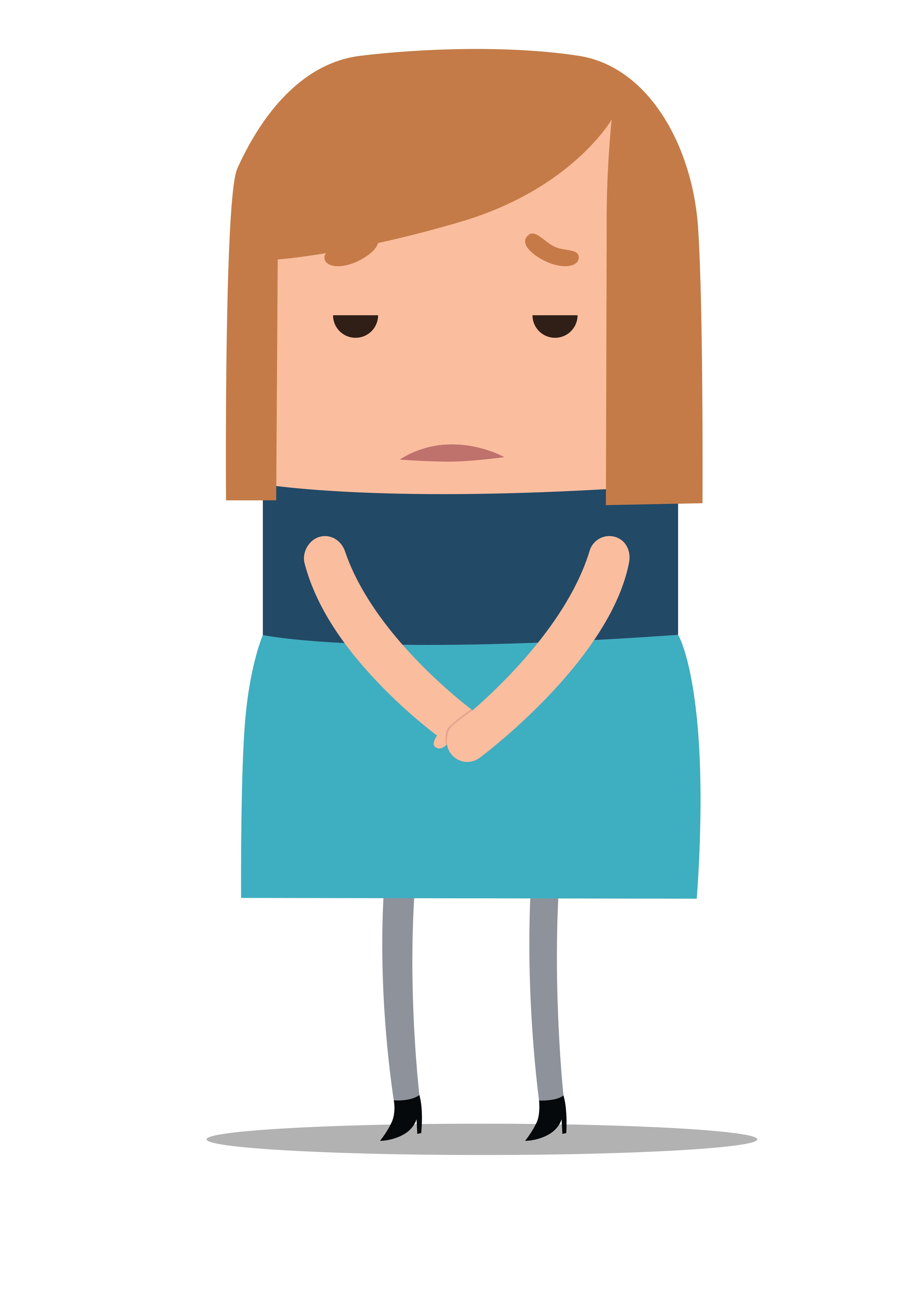 Illustratie verdrietig kijkende vrouw