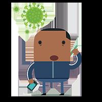 Grip op coronastress - man met coronamolecuul